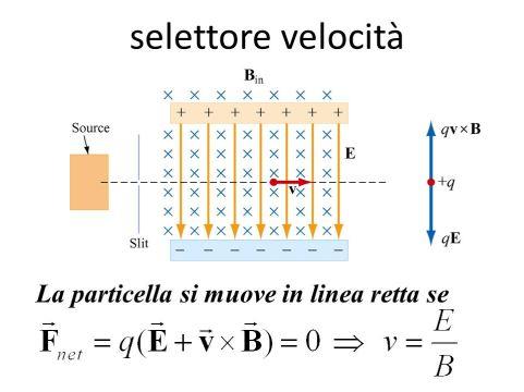 selettore velocità La particella si muove in linea retta se